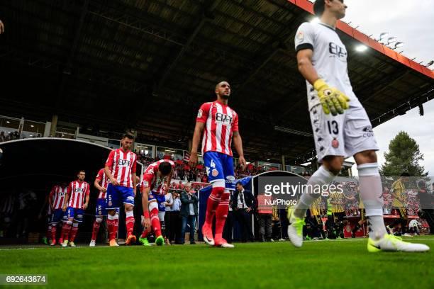 Action image during the Spanish championship La Liga 1|2|3 football match between Girona FC vs Zaragoza at Montilivi stadium on June 4 2017 in Girona...