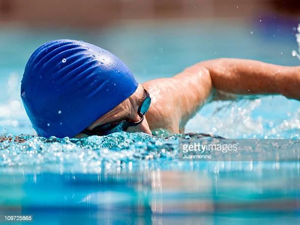 Action Image of a senior female swimmer