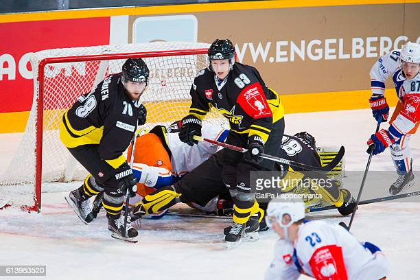 Action in front of SaiPa Lappeenranta goal during the Champions Hockey League Round of 32 match between SaiPa Lappeenranta and Tappara Tampere at...