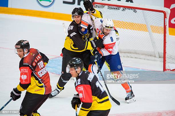 Action in front of SaiPa Lappeenranta goal during the Champions Hockey League Round of 16 match between SaiPa Lappeenranta and Vaxjo Lakers at...