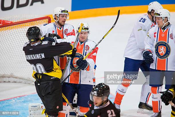 Action in front of Vaxjo goal during the Champions Hockey League Round of 16 match between SaiPa Lappeenranta and Vaxjo Lakers at Kisapuisto on...