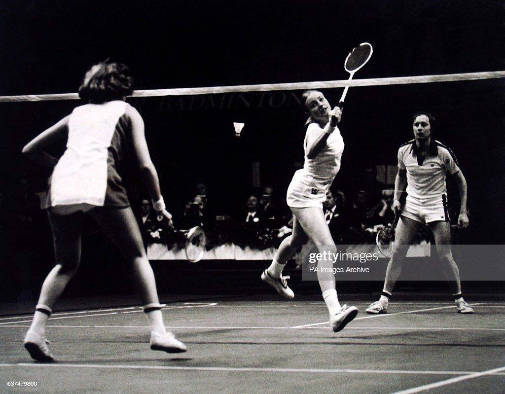 Badminton - All England Badminton Championships - Mixed Doubles - Final - Derek Talbot/Gillian Gilks v Mike Tredgett/Nora Perry - Wembley : News Photo