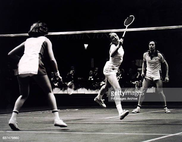 Action in the mixed doubles final