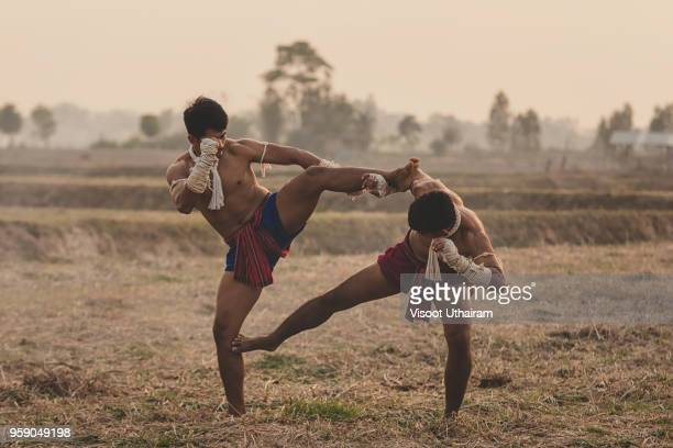 Action Muay Thai tradition fighters of Thailand.