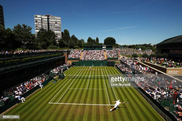 Action on Court 18 during the Men's Singles first round match between Lucas Pouille of France and Denis Kudla of The United States on day one of the...