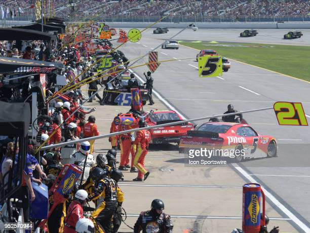 Action on pit road during the NASCAR Xfinity Series Sparks Energy 300 on April 28 at Talladega Superspeedway in Talladega AL