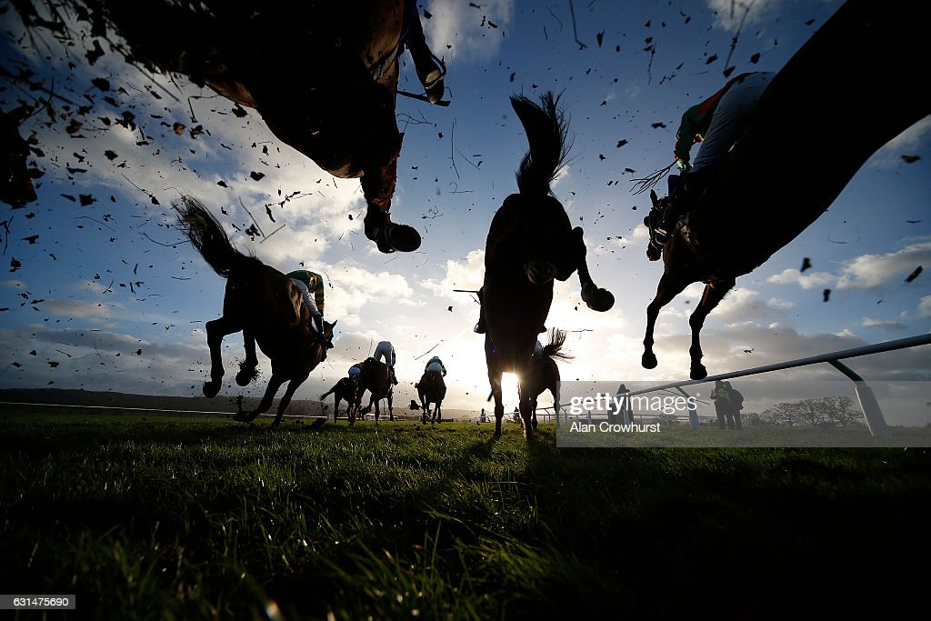 Action over fences at Taunton Racecourse on January 11, 2017 in Taunton, England.