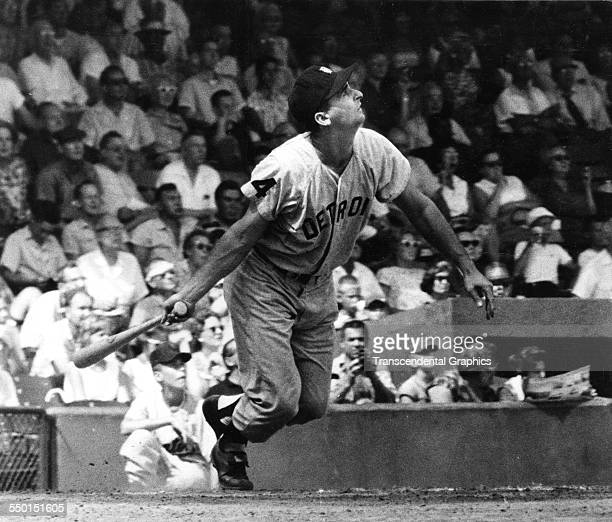 Action photograph from an American League game showing Charlie Maxwell of the Detroit Tigers batting in Griffith Stadium Washington DC circa 1960