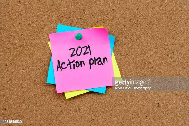 2021 action plan text on yellow paper note - to do list stock pictures, royalty-free photos & images