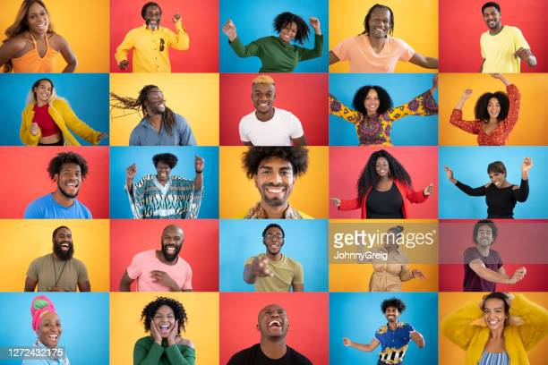 action portraits of diverse black people smiling - multiracial group stock pictures, royalty-free photos & images