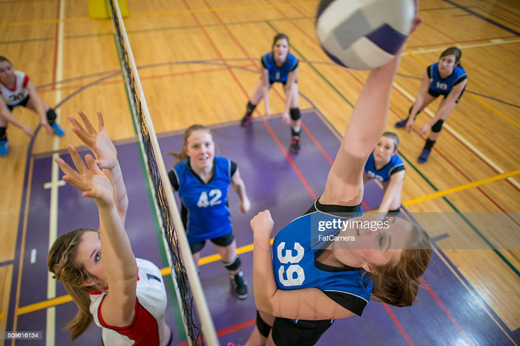 Action Shot of a Ball Being Spiked : Stock Photo