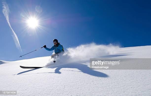 Action shot of an alpine skier