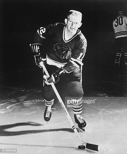 Action shot of Canadian ice hockey player Pat Stapleton who played for the Chicago Blackhawks