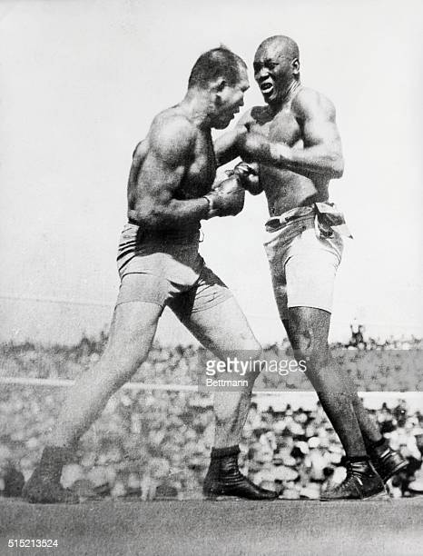 Action shot of Jack Johnson fighting Jim Jeffries at Reno in 1910. Jeffries was beaten over 15 rounds.