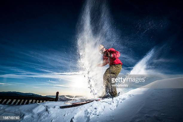 action skier - telemark stock pictures, royalty-free photos & images