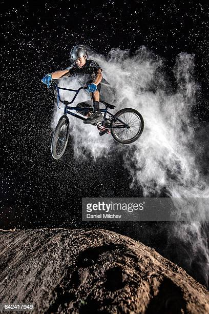 action sports bmx jump, with smoke cloud. - 離れ技 ストックフォトと画像