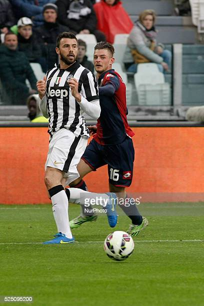 Action with Andrea Barzagli and Maxime Lestienne during the Serie A match between Juventus FC and Genoa CFC at Juventus Stafium on march 22 2015 in...