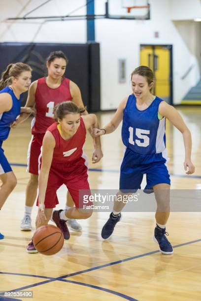 Action-Packed Girl's High School Basketball Game