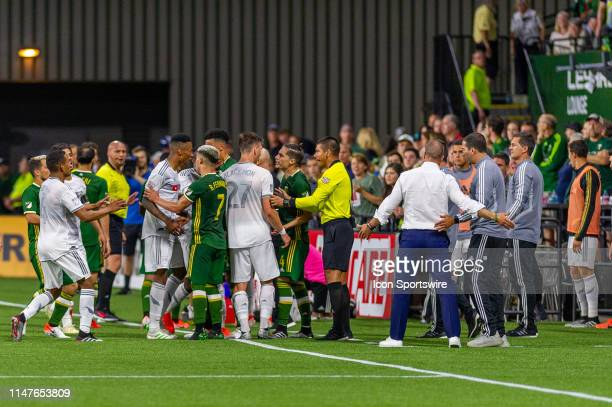 Actions by LAFC deemed time waste by the Portland Timbers generate arguments shoves and insults between players during the Los Angeles FC game...