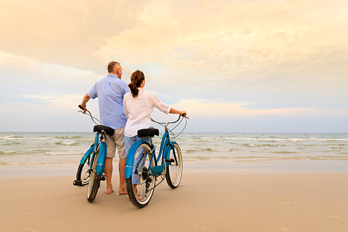 Active couple with bikes - gettyimageskorea