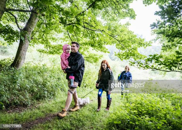 active family with children and dog exploring woodland area - one parent stock pictures, royalty-free photos & images