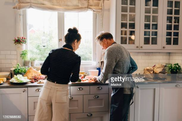 active female and male senior friends cutting watermelon at counter in kitchen - cortar atividade - fotografias e filmes do acervo