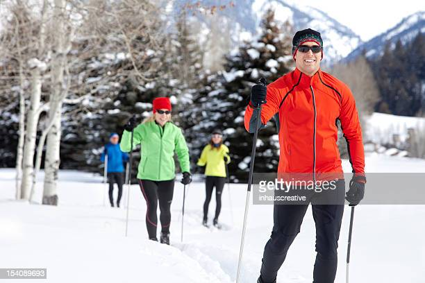 active group back country nordic skiing - langlaufen stockfoto's en -beelden
