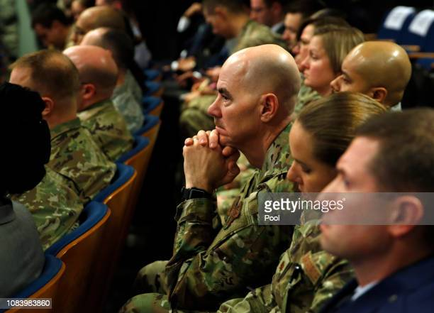 Active military personnel listen to President Donald J Trump speak during a Missile Defense Review announcement on January 17 2019 at the Pentagon in...