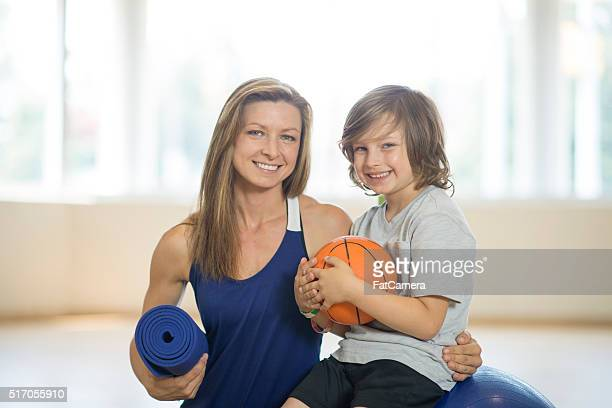 Active Mother and Son at the Gym