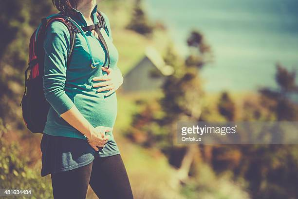 Active pregnant woman hiking