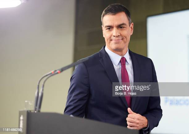 Active President Pedro Sanchez attends a press conference after his meeting with leaders Pablo Casado Pablo Iglesias and Albert Rivera on October 16...