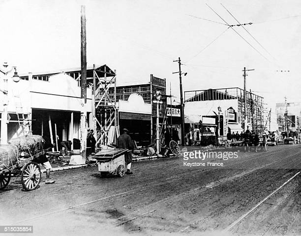 Active reconstruction of buildings in Ginza avenue in Tokyo Japan after the earthquake of 1923