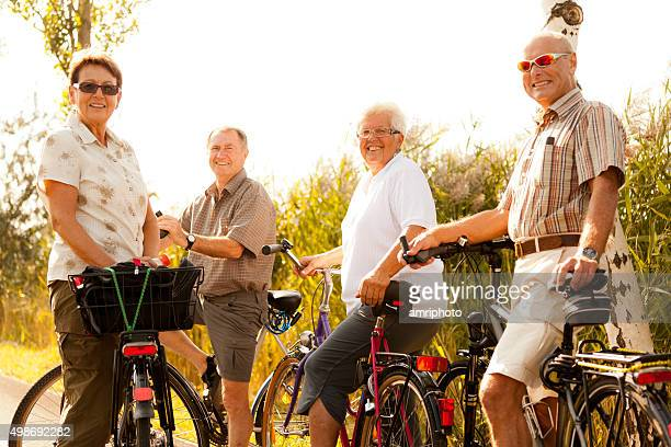 active retirees on bicycles