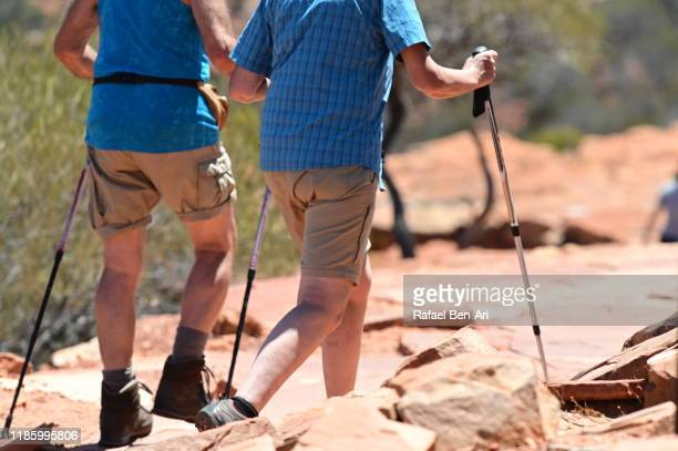 active senior couple hiking together - rafael ben ari stock pictures, royalty-free photos & images