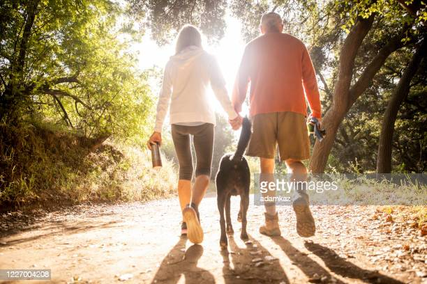 active senior couple walking with dog on nature trail - adamkaz stock pictures, royalty-free photos & images