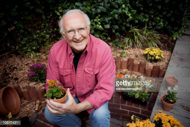 Active Senior Man in Garden