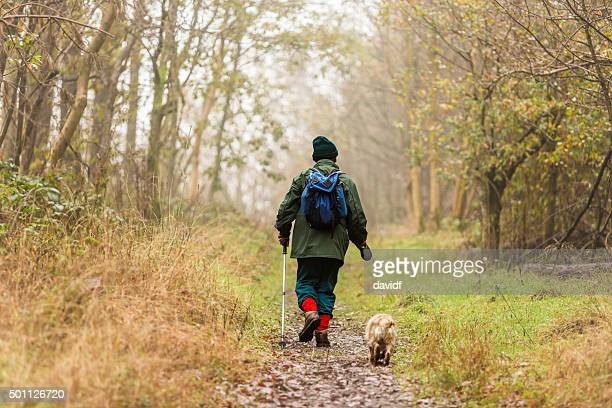 Active Senior Man Walking His Dog in a Foggy Forest