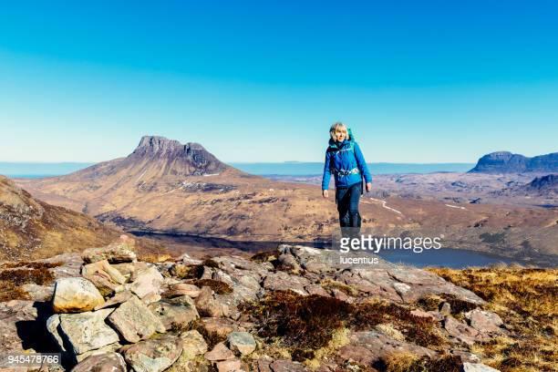 Active senior, Stac Pollaidh and Suilven, Scotland