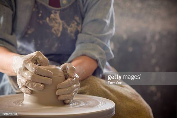 active senior woman making pottery - pottery stock pictures, royalty-free photos & images