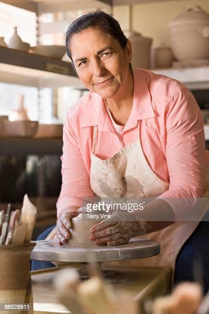 Active Senior Woman Making Pottery