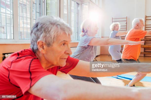 active seniors exercising together