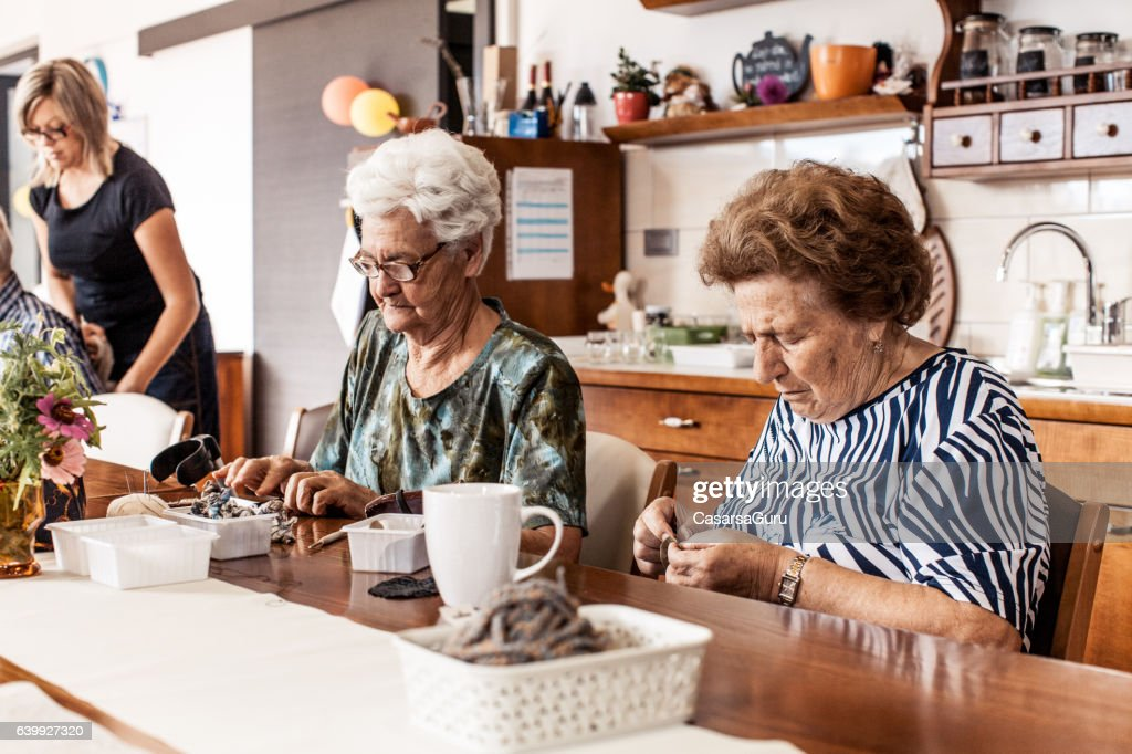 Active Seniors in an Elderly Daycare Center : Stock Photo