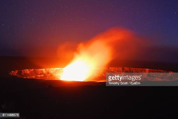 Active Volcanic Crater At Night In Hawaii Volcanoes National Park