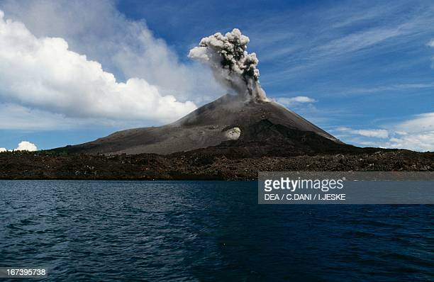 Active volcano on the islet of Anak Krakatau between the islands of Java and Sumatra Indonesia
