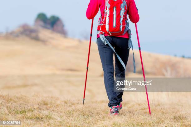 Active Young Woman Trekking On The Plateau