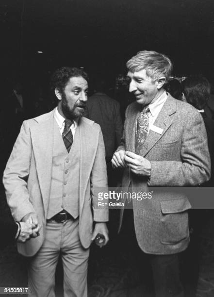 Activist Abbie Hoffman and author John Updike attends 10th Annual Poets and Writers Gala on October 22 1980 at Roseland Ballroom in New York City