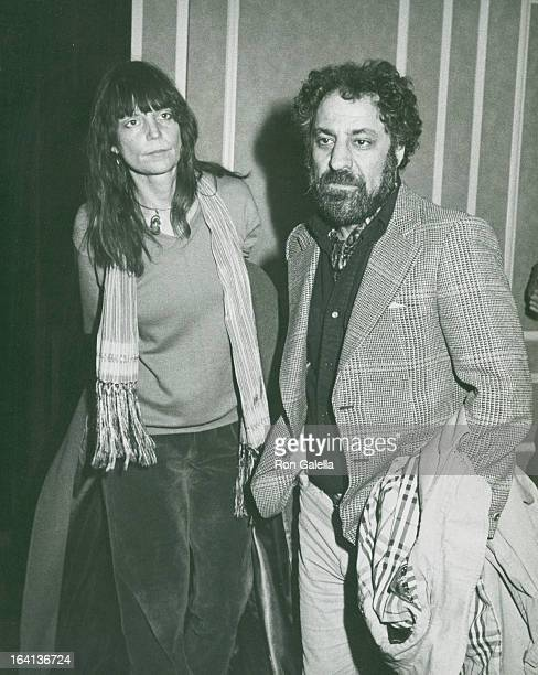 Activist Abbie Hoffman and wife Johanna Lawrenson attend the performance of Nightmother on May 19 1983 at the Golden Theater in New York City