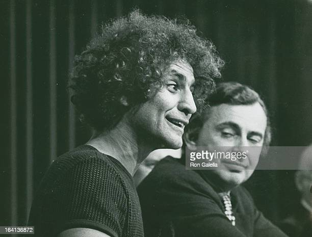 Activist Abbie Hoffman and writer Gore Vidal attend New York Journalism Symposium on April 23 1972 in New York City