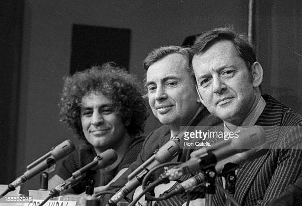 Activist Abbie Hoffman writer Gore Vidal and Tony Randall attend New York Journalism Symposium on April 23 1972 in New York City