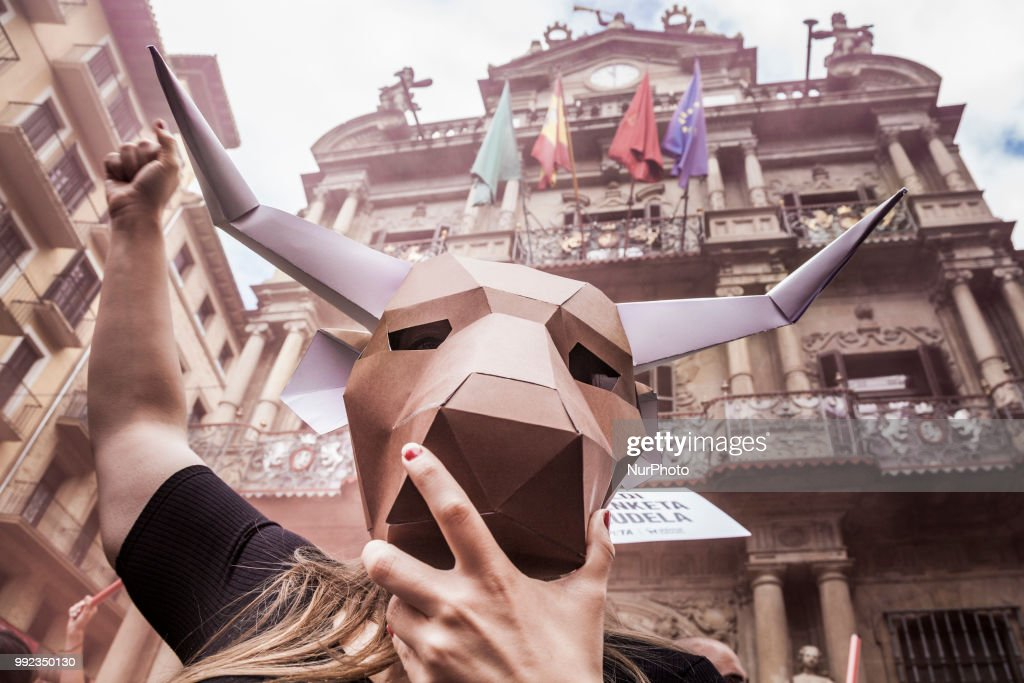 Protest against animal cruelty before San Fermin celebrations in Pamplona : News Photo